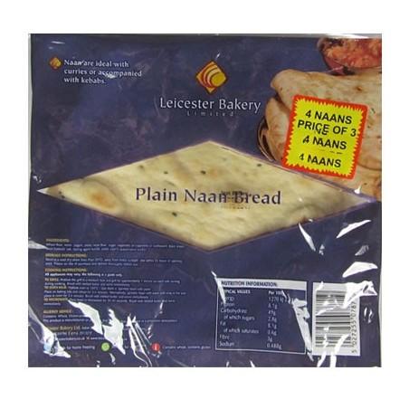 Leicester Bakery Plain Naan Bread (4pc)