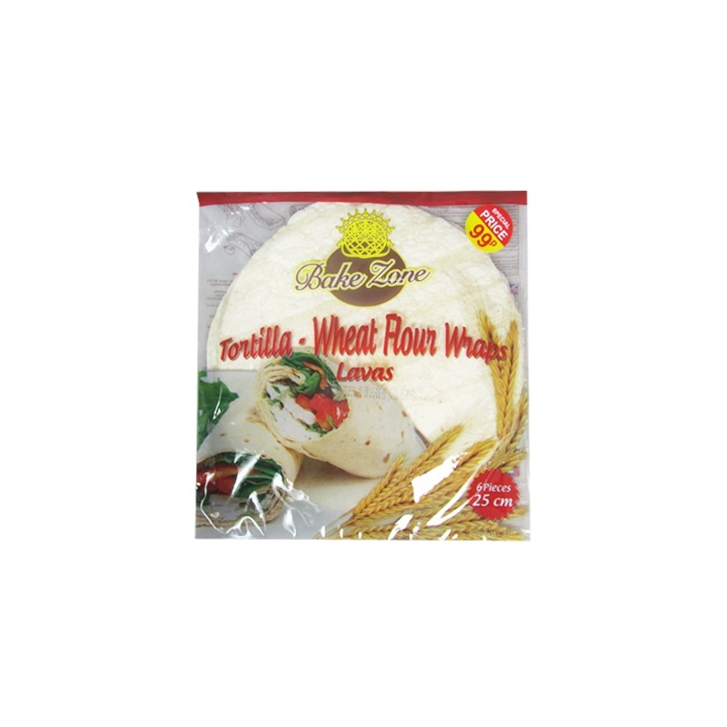 Bake Zone Wheat Flour Tortilla Wraps 6pack