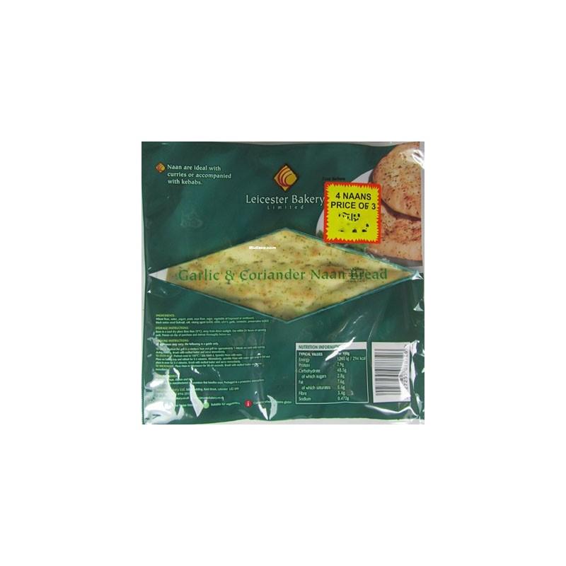 Leicester Bakery Naan Bread Garlic Corriander (4pc)
