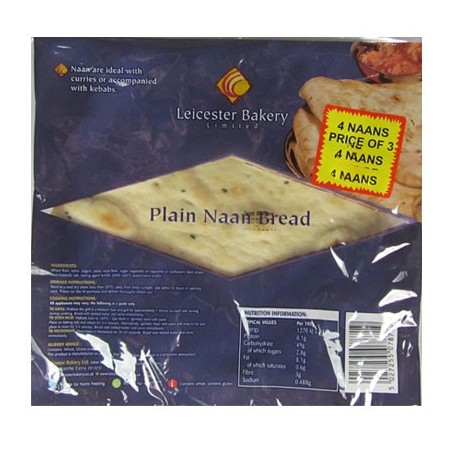 Leicester Bakery Plain Naan Bread (4pc)