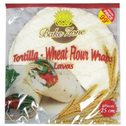 Bake Zone Wheat Flour Tortilla Wraps 6pack