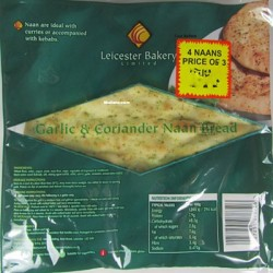 Leicester Bakery Naan Bread Garlic Corriander (4pc)